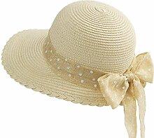 QZ HOME Strohhut-weiblicher Sommer-Visier-zufälliger Sonnenschutz-Reise-Feiertags-Strand (Farbe : Gelb)