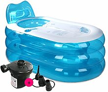 qz Inflatable Bathtub Aufblasbare Wanne Falten Bad Tub Adult Bad Barrel ( Farbe : Transparent blue , größe : L-Electric pump )