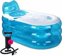 qz Inflatable Bathtub Aufblasbare Wanne Falten Bad Tub Adult Bad Barrel ( Farbe : Transparent blue , größe : M-Manual pump )