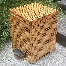 QZz Badaccessoires Trash mit Abdeckung Trash Hand Made ( Farbe : Beige , größe : 20l )