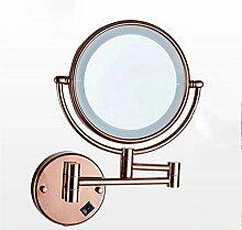 QZz Home® Induktion Spiegelleuchten LED Teleskop-Wand doppelseitige Spiegel Klappspiegel vorne Lichter 8 Zoll (Farbe : Pink)