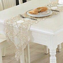 QZZ Tischläufer Lace Esstisch Tischdecke Tischläufer ( Farbe : Gold , größe : 30*70cm )