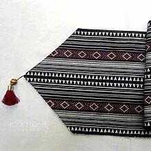 QZZ Tischläufer Upscale Schwarz Weiß Rot