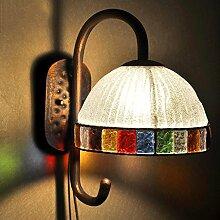 QZz Wandleuchten Europäische Mittelmeer-Kunst-Wandfarbe Glaslampe Wohnzimmer Schlafzimmer Nacht Wandbeleuchtung