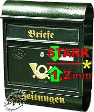 R Großer Briefkasten Runddach grün dunkelgrün