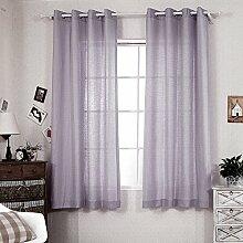 R. lang massiv Tülle Top Faux Leinen FENSTER Einsätze für Wohnzimmer 1Paar Violett Grau, violett, 52 x 84