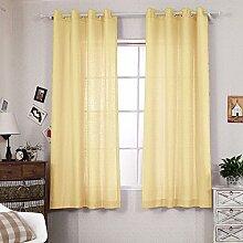 R. lang massiv Tülle Top Faux Leinen FENSTER Panels für Wohnzimmer 1Paar Pale orange, Orange, 52 x 84