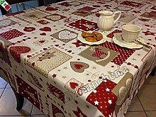 R.P. 'Tischdecke Weihnachten Küche Wohnzimmer Patchwork Herzen und Rentiere, 140x 180cm–Made in Italy weiß