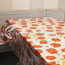 R.P. Tischdecke PVC Wachstuch laminiert Fleckschutz transparent mit Muster drucken H. 140cm–cm 140x 300–Mohnblumen
