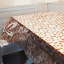 R.P. Tischdecke PVC Wachstuch laminiert Fleckschutz transparent mit Muster drucken H. 140cm–cm 140x 500–Erdbeeren