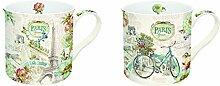 R2S 1451Parf Paris Forever Set Kaffeebecher mit Keramik mehrfarbig, 18x 9x 9,5cm 2-teilig