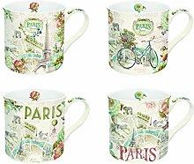 R2S 1452Parf Paris Forever Set Kaffeebecher mit Keramik mehrfarbig 20x 9x 9cm 4teilig