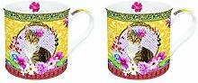 R2S 178FACA Fancy Set Kaffeebecher mit Motiv Katze Keramik, mehrfarbig 26x 11x 9,5cm