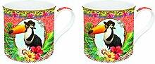 R2S 178FATO Fancy Set Kaffeebecher mit Motiv Tukan Keramik, mehrfarbig 26x 11x 9,5cm