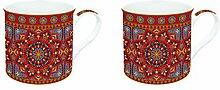 R2S 178Manr Art Around the World Set Kaffeebecher mit Keramik, mehrfarbig 26x 11x 9,5cm