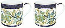 R2S 178shab Art Around the World Set Kaffeebecher mit Keramik, mehrfarbig 26x 11x 9,5cm