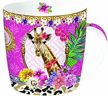 R2S 217FAGI Fancy Mug Tasse mit Dose, Motiv Giraffe, Metall/Keramik, mehrfarbig, 13x13x10cm