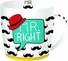 R2S 217righ Have Fun Mr Right Becher in Box Metall/Keramik, mehrfarbig 13 x 13 x 10 cm