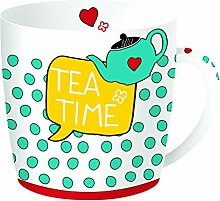R2S 217teti Have Fun Tea Time Becher in Box Metall/Keramik, mehrfarbig 13 x 13 x 10 cm