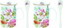 R2S 314Cott Cottage Flowers Set 2Becher 30cl mit Tassenlöffel Bone China bunt 20x 20x 2cm 2Einheit (S)