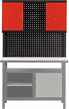 Rückwand-System für PROFI-Werkbank 2 Stangen + 1 Lochwand + Wandschrank