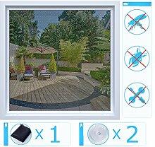 Rabbitgoo Fliegengitter für Fenster Moskitonetzfenster Insektenschutz ,Klettverschluss, schwarz, 1.3m x 1.5m