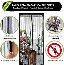 Rabbitgoo Fliegengitter Tür Insektenschutz Magnetvorhang Moskitonetz für Tür 90*210cm Magnetverschluss Schwarz Magnetischer Fliegenvorhang für Türen des Balkons Wohnzimmers