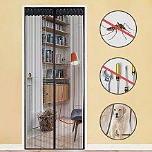 Rabbitgoo Fliegengitter Tür Magnet Insektenschutz Ohne Bohren Fliegenvorhang Magnetvorhang Moskitonetz für Balkontür, Wohnzimmer, Terrassentür Schwarz 90x210CM