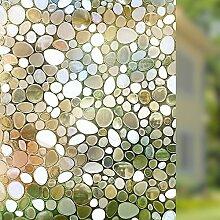 """rabbitgoo Sichtschutz Fensterfolie Sichtschutzfolie Deko Fenster Film Statische Fensterfolie 3d Pebble Glas Film für Home Küche Schlafzimmer, pebble, 17.7"""" By 78.7"""