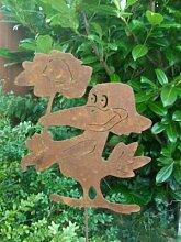 Rabe in Edelrost Gartenstecker 110cm DE6580R