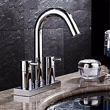 RACHELERDas Kupfer 2 - Loch Waschtisch Armatur mit heißen und kalten 3 Loch Waschbecken Wasserhahn