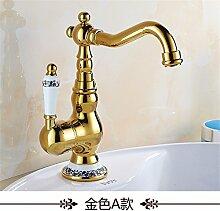 RACHELER Die goldene Wasserhähne Continental antiken Hahn blau gefliesten voll Kupfer Waschbecken Bad Armatur Spüle Badezimmer [Low]