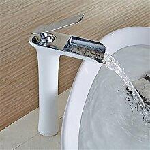 RACHELER Die weiße Farbe Wasserfall Wasserhahn voll Kupfer kalte und warme Badewanne Sitzbank Waschbecken schwarz