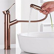 RACHELER Europäischer Full Messinggehäuse ziehen Sie warme und kalte goldenes Waschbecken Wasserhahn antike Sitzbank Handwaschbecken ausziehbaren Wasserhahn