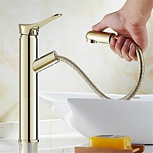RACHELER Europäischer Full Messinggehäuse ziehen Sie warme und kalte goldenes Waschbecken Wasserhahn antike Sitzbank Handwaschbecken Skala (tippen.