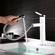 RACHELER Full Kupfer heiß und kalt Becken Wasserhahn weiße Farbe Becken Waschbecken Bad Schrank Wasserhahn Single Hole Pull gedreht werden kann
