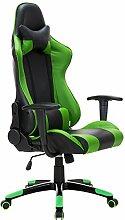 Racing Bürostuhl Sportsitz Chefsessel Gaming Drehstuhl Bürosessel Schreibtischstuhl Chefstuhl höhenverstellbar Farbwahl mit Wippkunktion (grün)