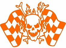 Racing Skull Aufkleber, 50 cm, orange