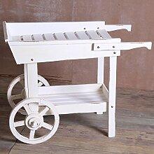 Rack, Einfache weiße Holzwagen Blumenregale Regal Rad Home Dekoration