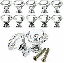 Racksoy 10x Deko. Zinklegierung Kristallglas Schubladenknöpfe Garderobe Ziehgriffe Möbelgriff 30mm Silber Transparen