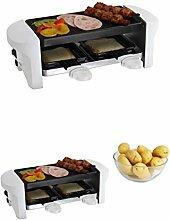 Raclette-Grill für 2 Personen 350 Watt Weiß Antihaft Beschichtung (Tischgrill, kleiner Elektrogrill, 2 Pfännchen, Aluguss-Grillplatten)