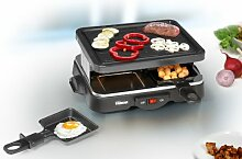 Raclette Grill für 4 Personen, mit 4 Pfannen und Grillfläche 22 x 17,5 cm, Antihaftbeschichtung, Tischraclette, 500 Wa