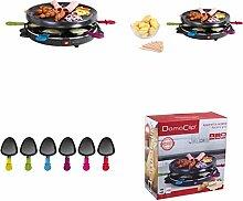 Raclette Grill für 6 Personen Sparsame 800 Watt (Grosse Grillfläche, 6 Pfännchen Antihaftbeschichtet, Tischgrill, Elektrogrill)