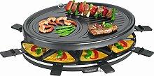 Raclette-Grill mit 8 antihaftbeschichteten Pfännchen Tischgrill Elektrogrill für 8 Personen Grillplatte (sparsame 1400 Watt, 1 grosse Grillfläche mit Crepe-Fläche + 8 Holzspachtel)