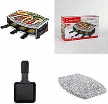 Raclette-Grill mit heißen Stein und 6 Pfännchen (Elektrogrill, 650 Watt, für 6 Personen, Natur-Steingrill, Tischgrill, Party-Grill)