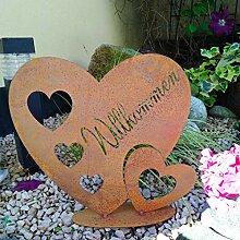 Radami Edelrost Herz - Willkommen - Schild