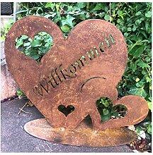 Rostoptik Herz Willkommen länglich auf Stab 110cm Gartenstecker Geschenk