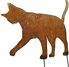 Radami Edelrost Katze auf Stab, Rostiges Metall,