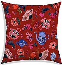 RADANYA Kissenhülle Floral Mit Teekanne Digital