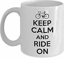 Radfahrer Geschenkbecher-Ruhe bewahren und auf